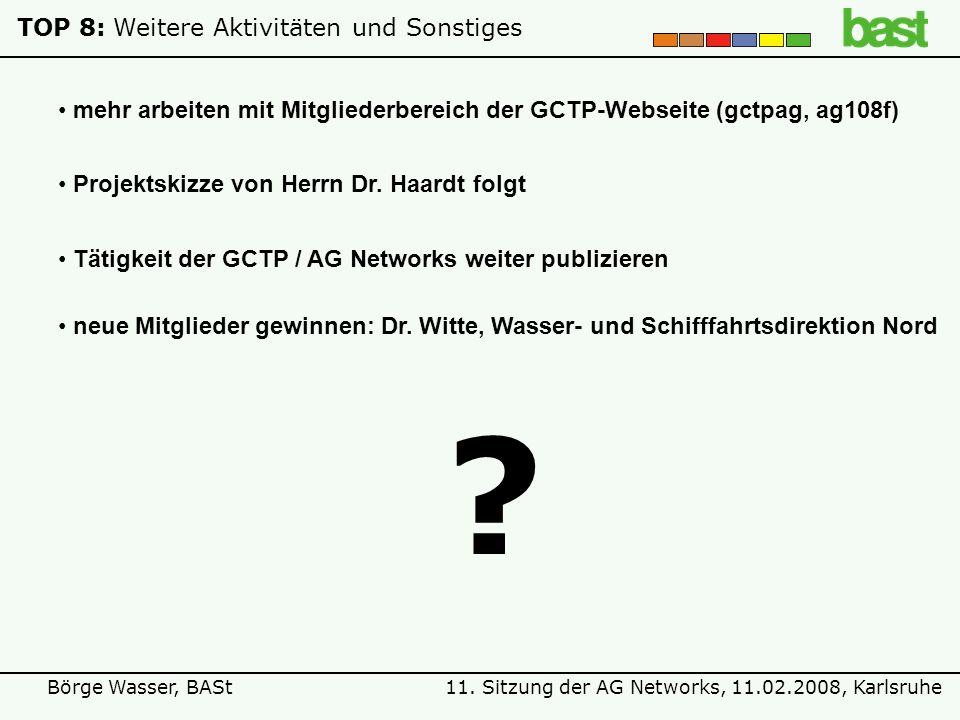11. Sitzung der AG Networks, 11.02.2008, KarlsruheBörge Wasser, BASt TOP 8:Weitere Aktivitäten und Sonstiges ? mehr arbeiten mit Mitgliederbereich der