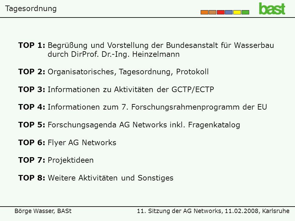 11. Sitzung der AG Networks, 11.02.2008, KarlsruheBörge Wasser, BASt TOP 1:Begrüßung und Vorstellung der Bundesanstalt für Wasserbau durch DirProf. Dr