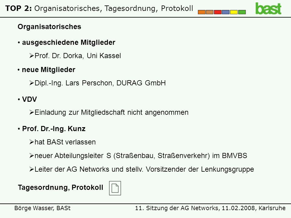 11. Sitzung der AG Networks, 11.02.2008, KarlsruheBörge Wasser, BASt TOP 2:Organisatorisches, Tagesordnung, Protokoll ausgeschiedene Mitglieder Prof.