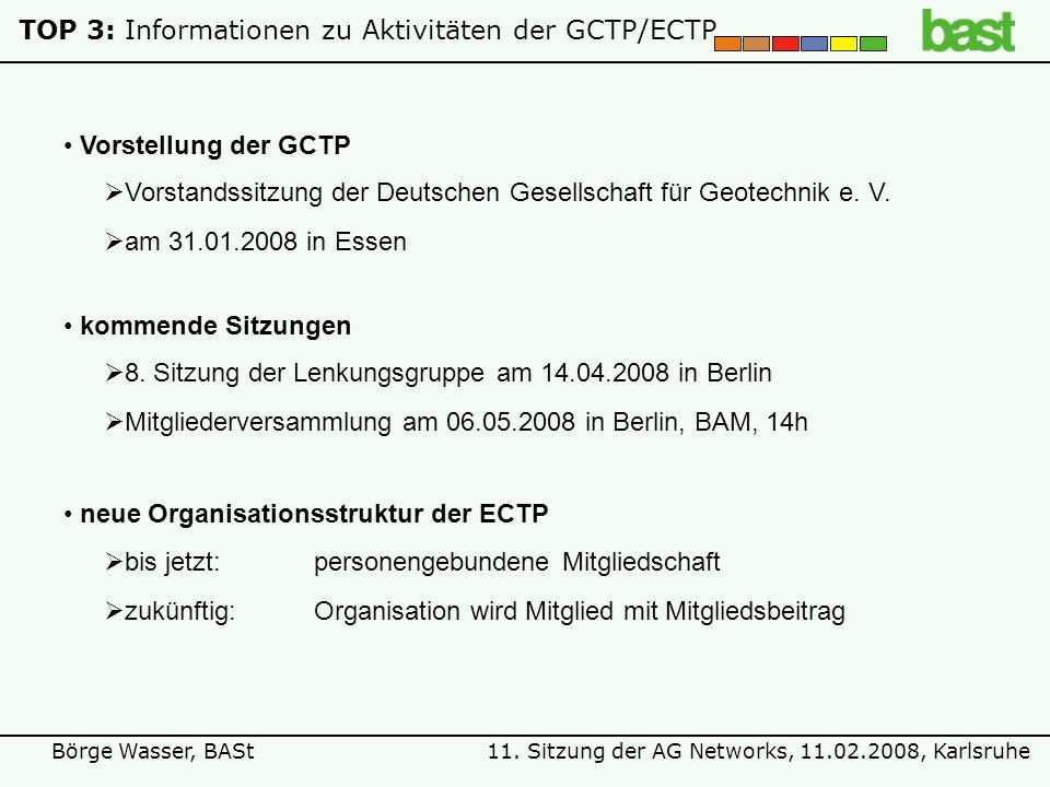 11. Sitzung der AG Networks, 11.02.2008, KarlsruheBörge Wasser, BASt TOP 3: Informationen zu Aktivitäten der GCTP/ECTP kommende Sitzungen 8. Sitzung d