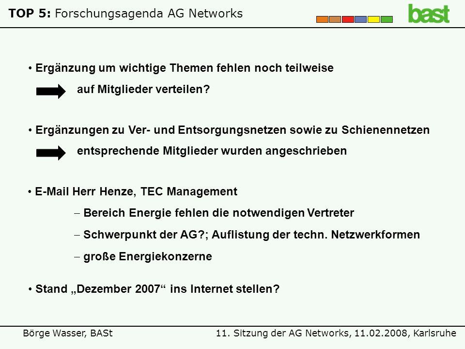 11. Sitzung der AG Networks, 11.02.2008, KarlsruheBörge Wasser, BASt TOP 5:Forschungsagenda AG Networks Stand Dezember 2007 ins Internet stellen? Ergä