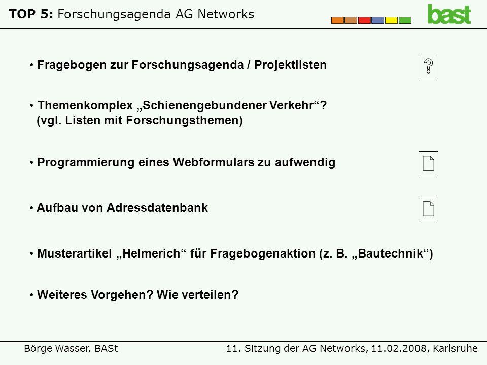 11. Sitzung der AG Networks, 11.02.2008, KarlsruheBörge Wasser, BASt TOP 5:Forschungsagenda AG Networks Fragebogen zur Forschungsagenda / Projektliste