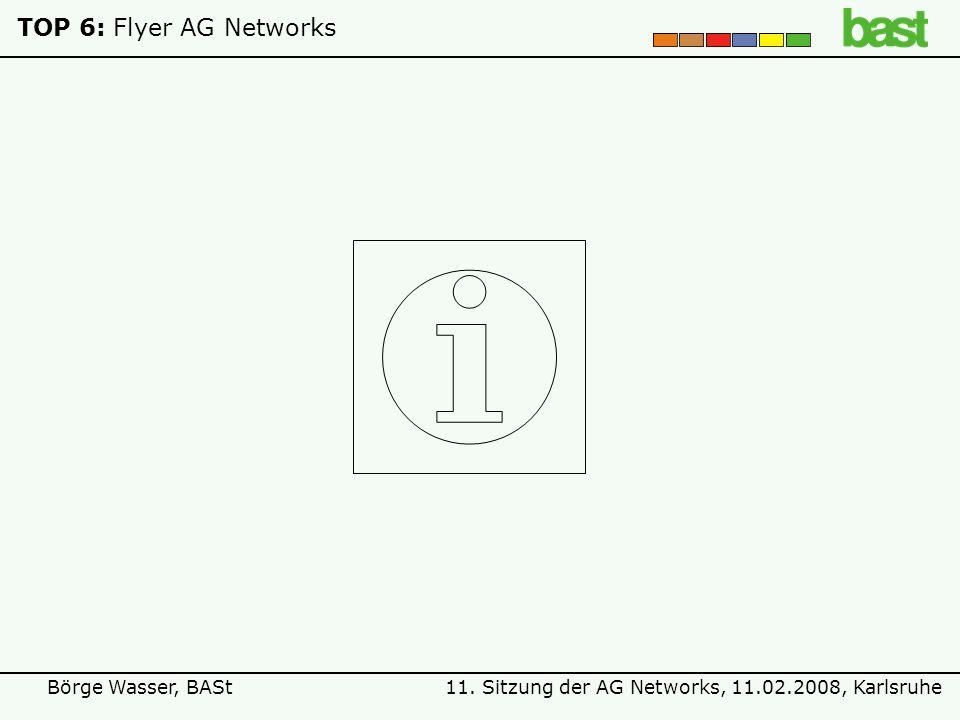 11. Sitzung der AG Networks, 11.02.2008, KarlsruheBörge Wasser, BASt TOP 7:Projektideen ?
