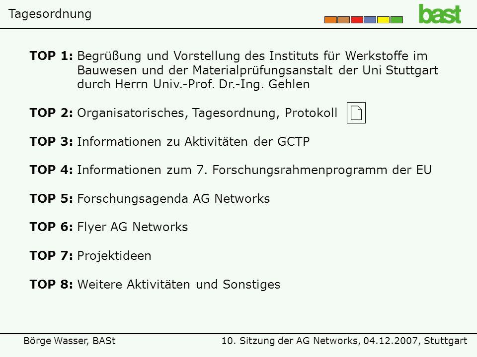 10. Sitzung der AG Networks, 04.12.2007, StuttgartBörge Wasser, BASt TOP 1:Begrüßung und Vorstellung des Instituts für Werkstoffe im Bauwesen und der