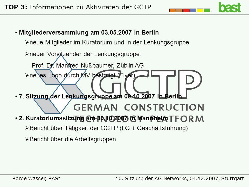 10. Sitzung der AG Networks, 04.12.2007, StuttgartBörge Wasser, BASt TOP 3: Informationen zu Aktivitäten der GCTP 2. Kuratoriumssitzung am 30.10.2007