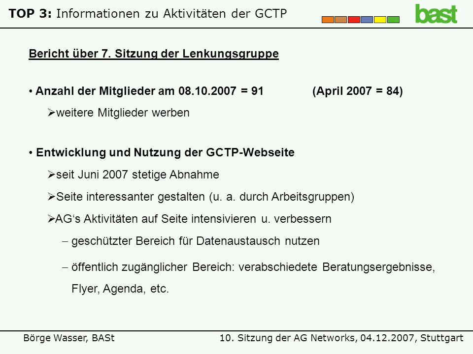 10. Sitzung der AG Networks, 04.12.2007, StuttgartBörge Wasser, BASt Bericht über 7. Sitzung der Lenkungsgruppe TOP 3: Informationen zu Aktivitäten de