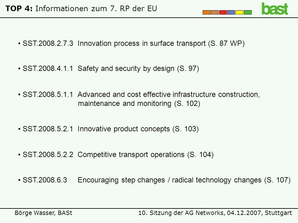 10. Sitzung der AG Networks, 04.12.2007, StuttgartBörge Wasser, BASt TOP 4: Informationen zum 7. RP der EU SST.2008.5.2.1Innovative product concepts (