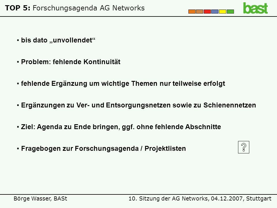 10. Sitzung der AG Networks, 04.12.2007, StuttgartBörge Wasser, BASt TOP 5:Forschungsagenda AG Networks bis dato unvollendet fehlende Ergänzung um wic