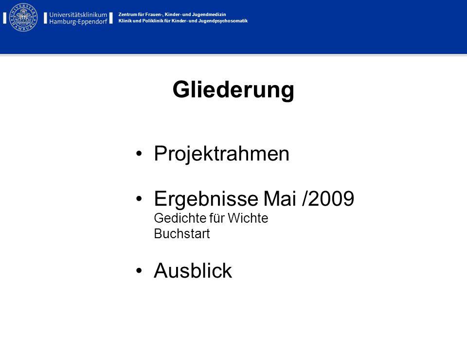 Zentrum für Frauen-, Kinder- und Jugendmedizin Klinik und Poliklinik für Kinder- und Jugendpsychosomatik Gliederung Projektrahmen Ergebnisse Mai /2009