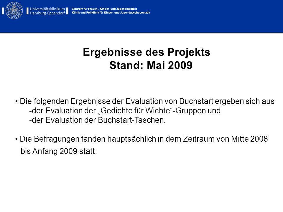 Zentrum für Frauen-, Kinder- und Jugendmedizin Klinik und Poliklinik für Kinder- und Jugendpsychosomatik Ergebnisse des Projekts Stand: Mai 2009 Die f