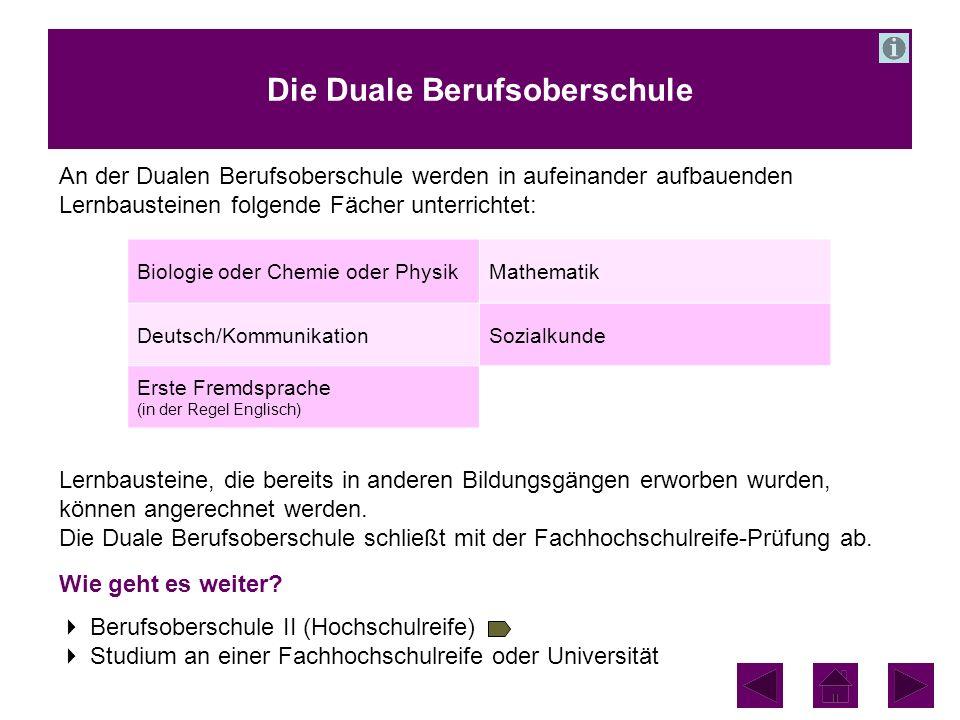 Die Duale Berufsoberschule An der Dualen Berufsoberschule werden in aufeinander aufbauenden Lernbausteinen folgende Fächer unterrichtet: Lernbausteine