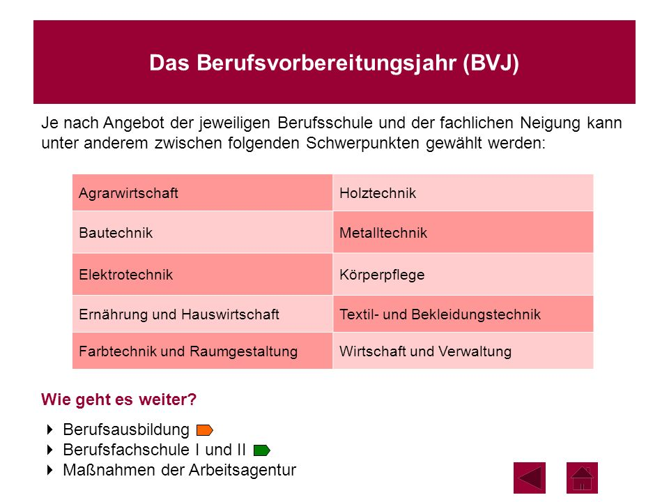 Das Berufsvorbereitungsjahr (BVJ) Je nach Angebot der jeweiligen Berufsschule und der fachlichen Neigung kann unter anderem zwischen folgenden Schwerp