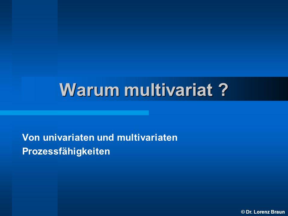 © Dr. Lorenz Braun Warum multivariat ? Von univariaten und multivariaten Prozessfähigkeiten