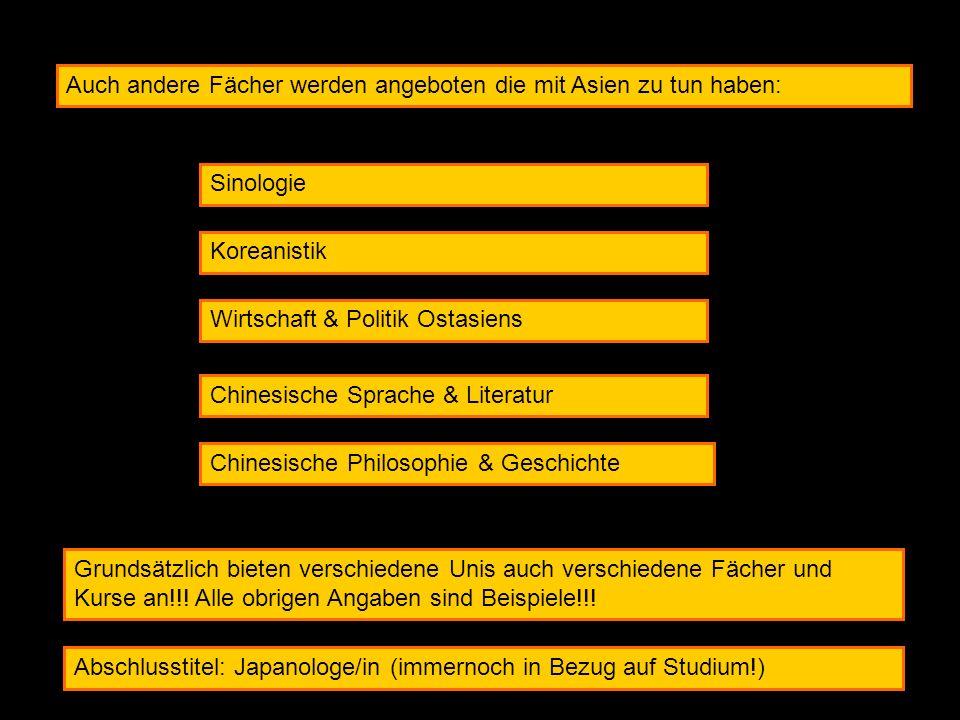 Auch andere Fächer werden angeboten die mit Asien zu tun haben: Sinologie Koreanistik Wirtschaft & Politik Ostasiens Chinesische Sprache & Literatur C