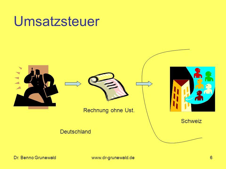 Dr. Benno Grunewaldwww.dr-grunewald.de6 Umsatzsteuer Rechnung ohne Ust. Deutschland Schweiz