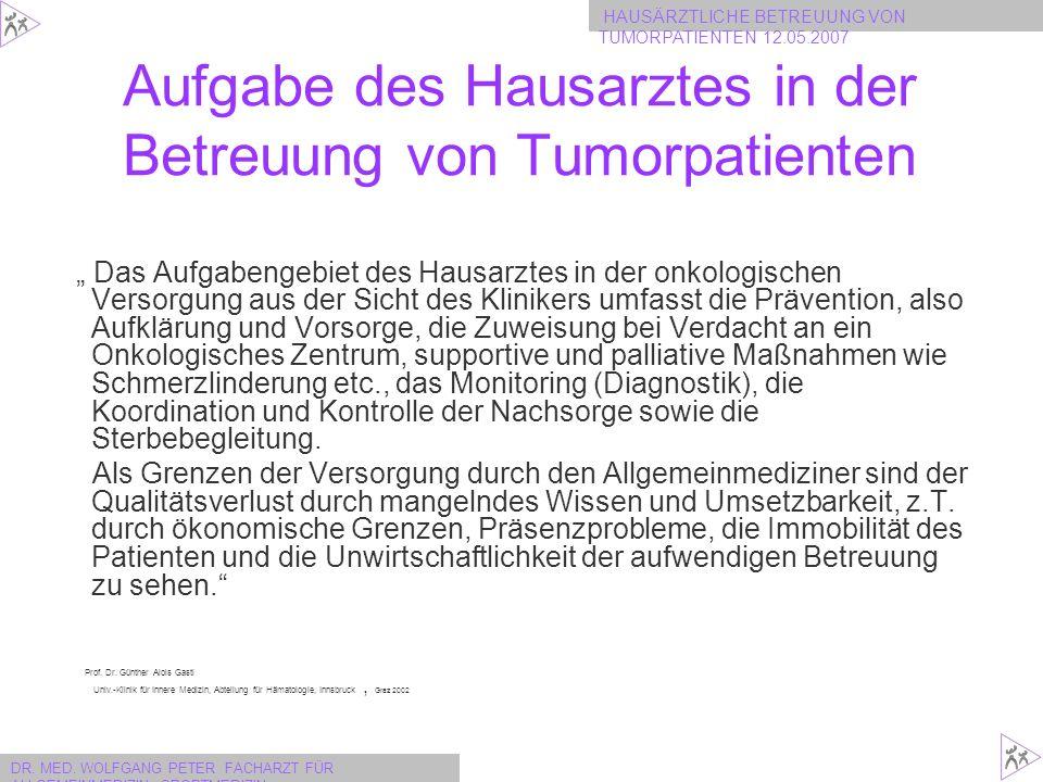 HAUSÄRZTLICHE BETREUUNG VON TUMORPATIENTEN 12.05.2007 DR.