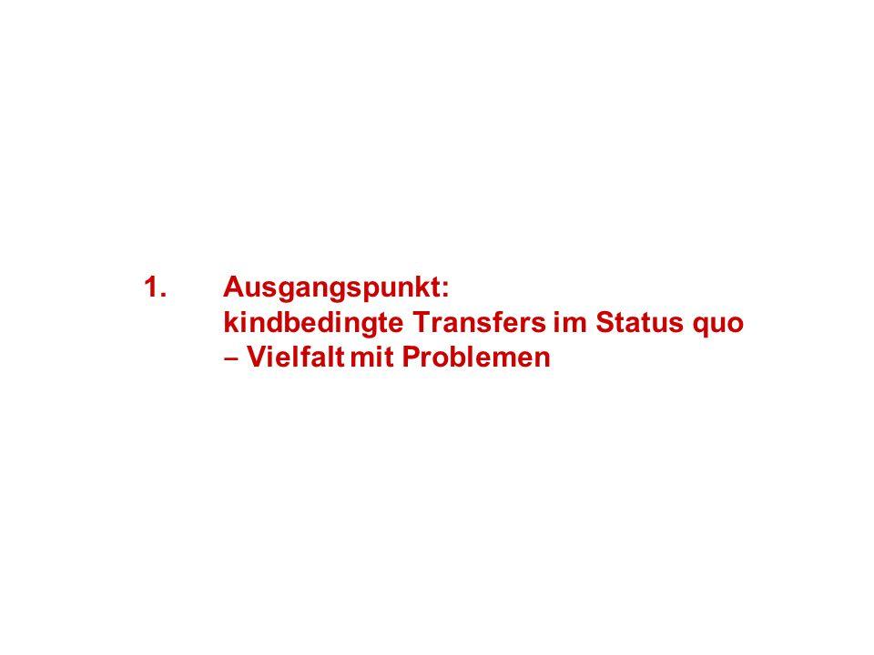 1.Ausgangspunkt: kindbedingte Transfers im Status quo Vielfalt mit Problemen