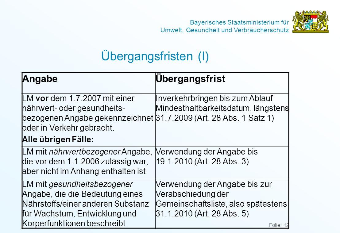 Bayerisches Staatsministerium für Umwelt, Gesundheit und Verbraucherschutz Folie: 12 Übergangsfristen (I) AngabeÜbergangsfrist LM vor dem 1.7.2007 mit