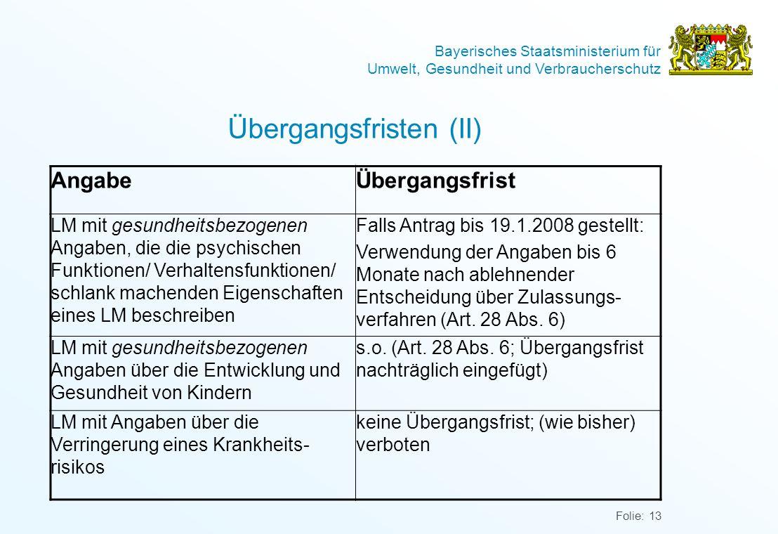 Bayerisches Staatsministerium für Umwelt, Gesundheit und Verbraucherschutz Folie: 13 Übergangsfristen (II) AngabeÜbergangsfrist LM mit gesundheitsbezo