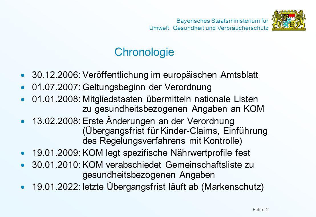 Bayerisches Staatsministerium für Umwelt, Gesundheit und Verbraucherschutz Folie: 2 Chronologie 30.12.2006:Veröffentlichung im europäischen Amtsblatt