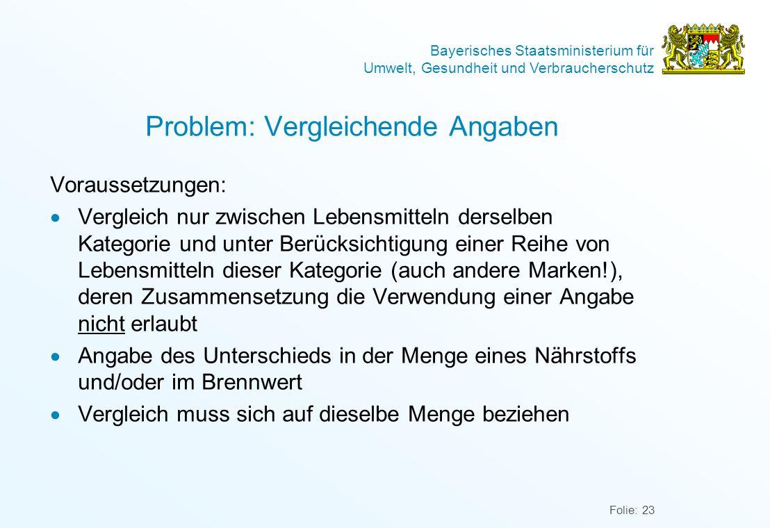 Bayerisches Staatsministerium für Umwelt, Gesundheit und Verbraucherschutz Folie: 23 Problem: Vergleichende Angaben Voraussetzungen: Vergleich nur zwi