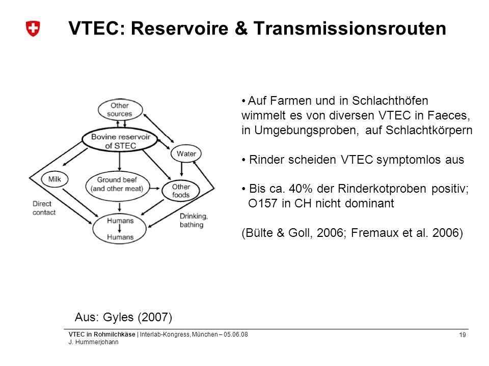 19 VTEC in Rohmilchkäse | Interlab-Kongress, München – 05.06.08 J. Hummerjohann VTEC: Reservoire & Transmissionsrouten Aus: Gyles (2007) Auf Farmen un