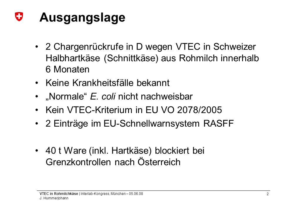 2 VTEC in Rohmilchkäse | Interlab-Kongress, München – 05.06.08 J. Hummerjohann Ausgangslage 2 Chargenrückrufe in D wegen VTEC in Schweizer Halbhartkäs