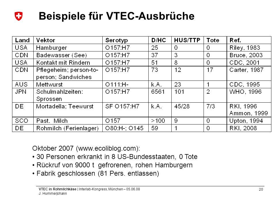 20 VTEC in Rohmilchkäse | Interlab-Kongress, München – 05.06.08 J. Hummerjohann Beispiele für VTEC-Ausbrüche Oktober 2007 (www.ecoliblog.com): 30 Pers