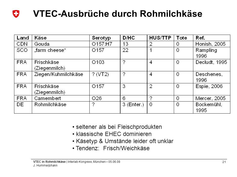 21 VTEC in Rohmilchkäse | Interlab-Kongress, München – 05.06.08 J. Hummerjohann VTEC-Ausbrüche durch Rohmilchkäse seltener als bei Fleischprodukten kl