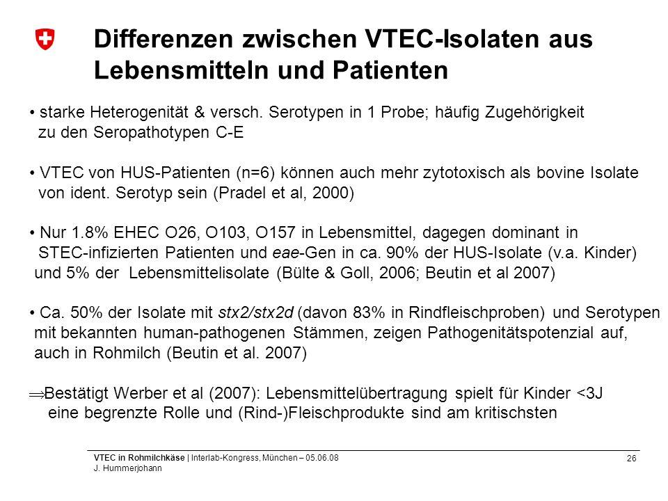 26 VTEC in Rohmilchkäse | Interlab-Kongress, München – 05.06.08 J. Hummerjohann Differenzen zwischen VTEC-Isolaten aus Lebensmitteln und Patienten sta