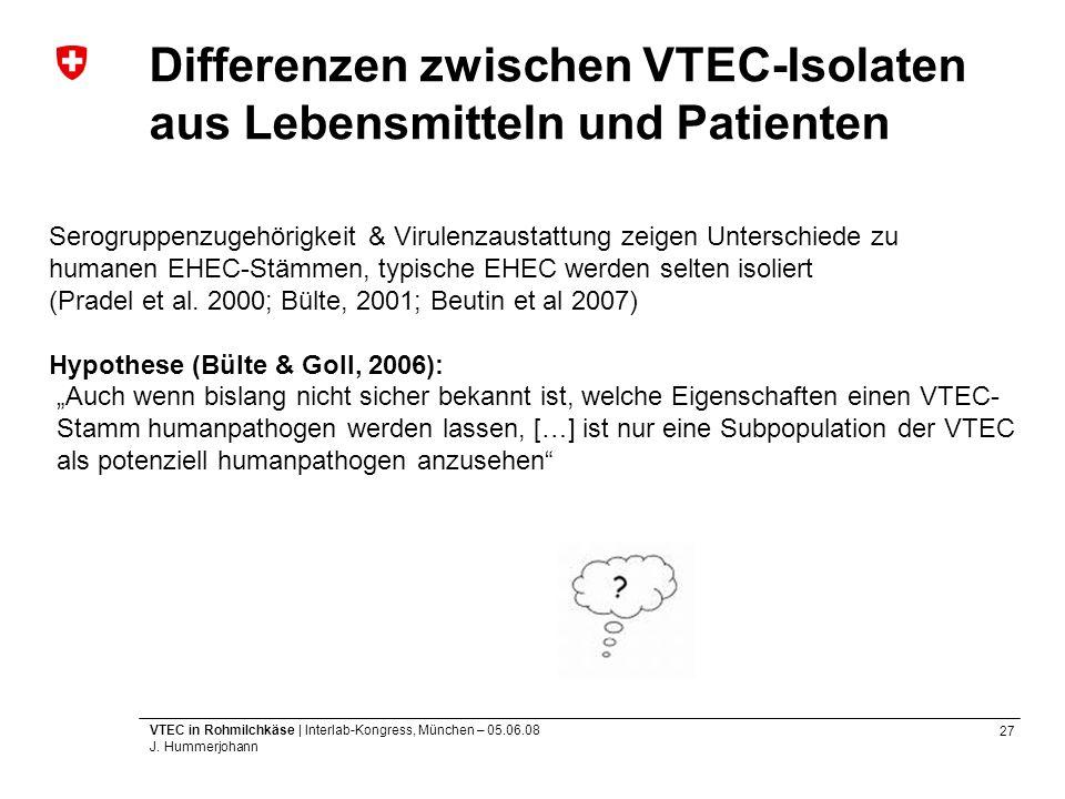 27 VTEC in Rohmilchkäse | Interlab-Kongress, München – 05.06.08 J. Hummerjohann Differenzen zwischen VTEC-Isolaten aus Lebensmitteln und Patienten Ser