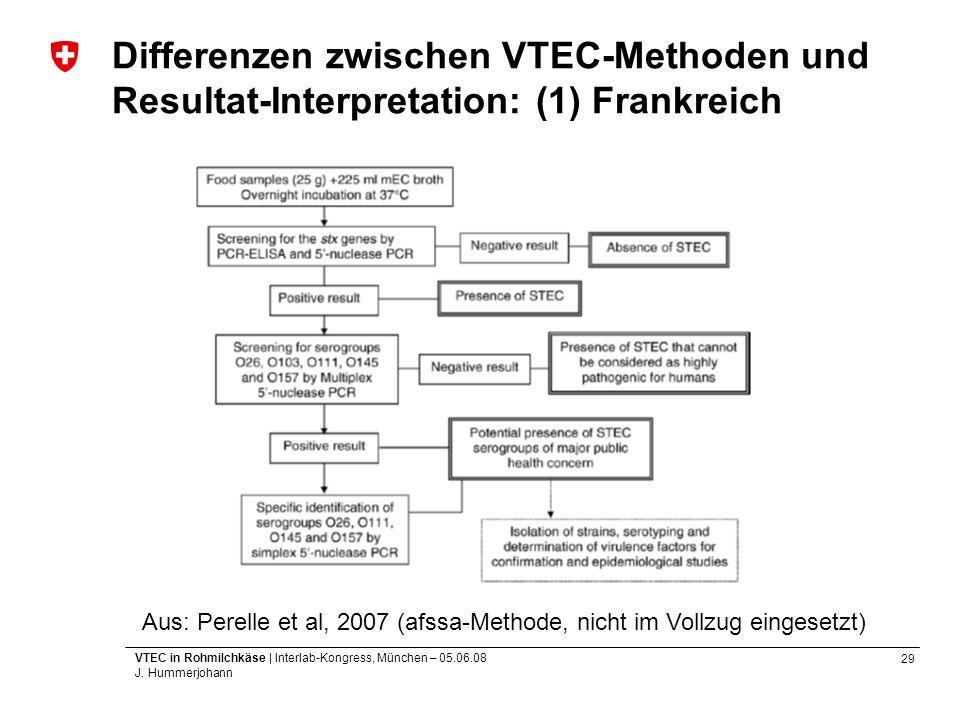 29 VTEC in Rohmilchkäse | Interlab-Kongress, München – 05.06.08 J. Hummerjohann Differenzen zwischen VTEC-Methoden und Resultat-Interpretation: (1) Fr