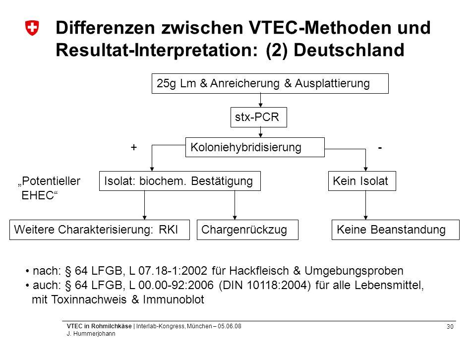 30 VTEC in Rohmilchkäse | Interlab-Kongress, München – 05.06.08 J. Hummerjohann Differenzen zwischen VTEC-Methoden und Resultat-Interpretation: (2) De