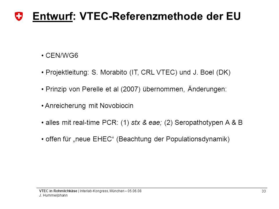 33 VTEC in Rohmilchkäse | Interlab-Kongress, München – 05.06.08 J. Hummerjohann Entwurf: VTEC-Referenzmethode der EU CEN/WG6 Projektleitung: S. Morabi