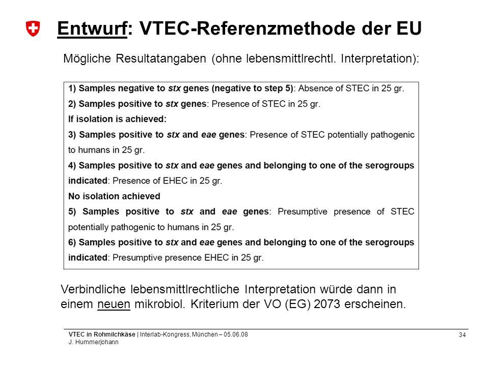 34 VTEC in Rohmilchkäse | Interlab-Kongress, München – 05.06.08 J. Hummerjohann Entwurf: VTEC-Referenzmethode der EU Mögliche Resultatangaben (ohne le