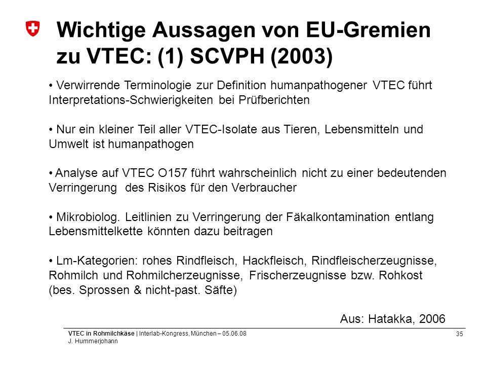 35 VTEC in Rohmilchkäse | Interlab-Kongress, München – 05.06.08 J. Hummerjohann Wichtige Aussagen von EU-Gremien zu VTEC: (1) SCVPH (2003) Verwirrende