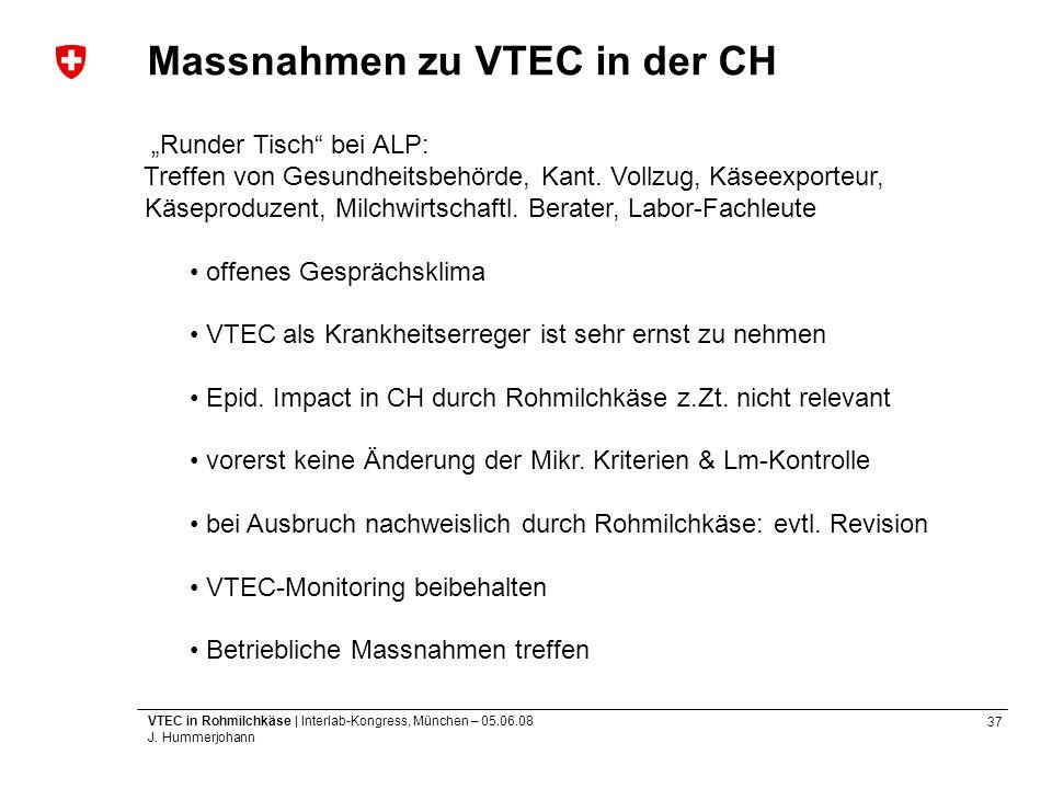 37 VTEC in Rohmilchkäse | Interlab-Kongress, München – 05.06.08 J. Hummerjohann Massnahmen zu VTEC in der CH Runder Tisch bei ALP: Treffen von Gesundh