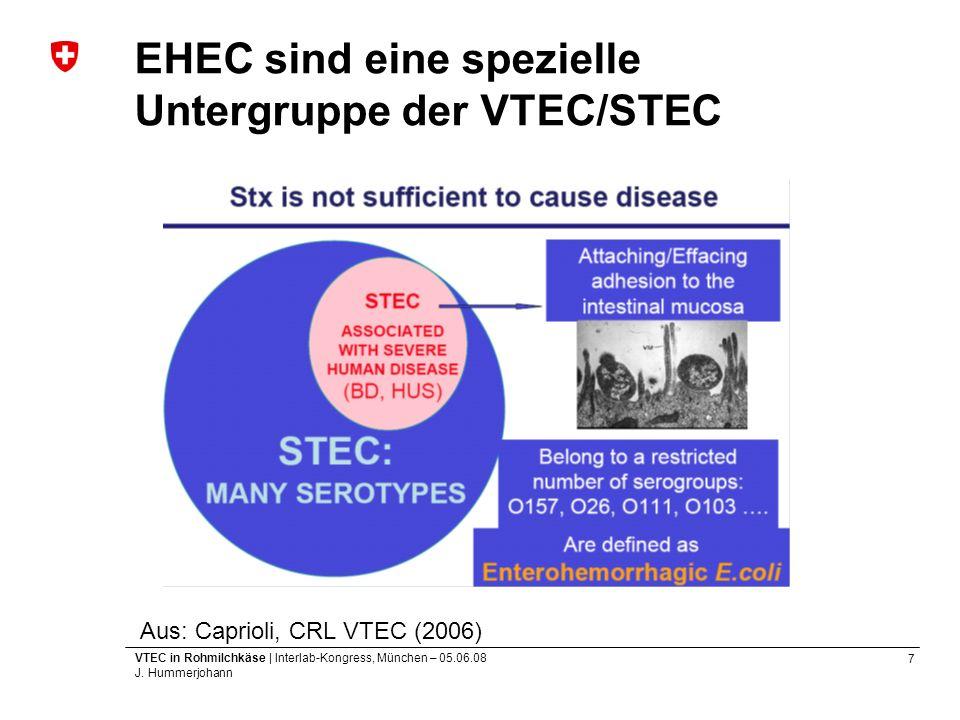 7 VTEC in Rohmilchkäse | Interlab-Kongress, München – 05.06.08 J. Hummerjohann EHEC sind eine spezielle Untergruppe der VTEC/STEC Aus: Caprioli, CRL V