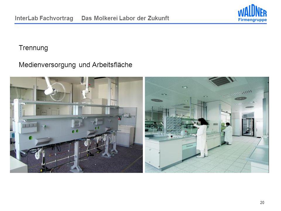 InterLab Fachvortrag Das Molkerei Labor der Zukunft 20 Trennung Medienversorgung und Arbeitsfläche