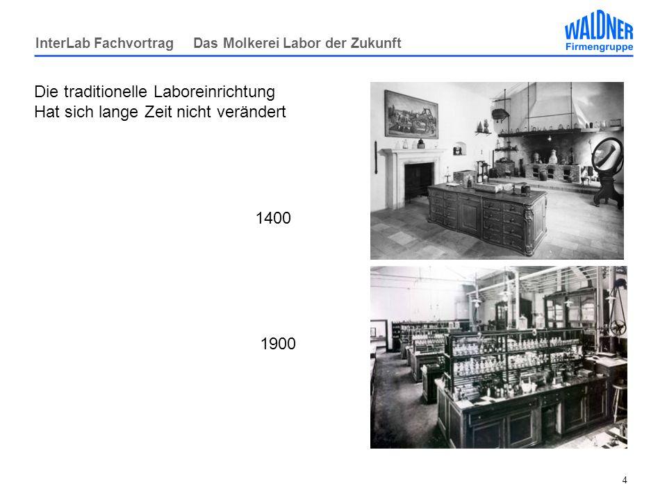 InterLab Fachvortrag Das Molkerei Labor der Zukunft 4 Die traditionelle Laboreinrichtung Hat sich lange Zeit nicht verändert 1400 1900