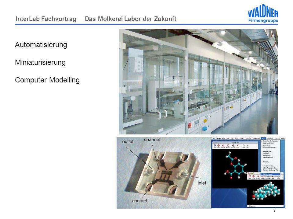 InterLab Fachvortrag Das Molkerei Labor der Zukunft 10 Medientechnologie Früher Kaltwasser - Jetzt -Kaltwasser -Warmwasser -VE Wasser -Kühlwasser -Cryotechnik