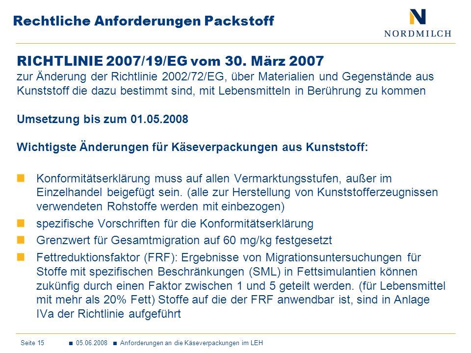 Seite 15 05.06.2008 Anforderungen an die Käseverpackungen im LEH Rechtliche Anforderungen Packstoff RICHTLINIE 2007/19/EG vom 30.