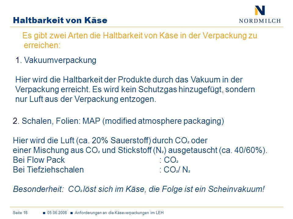 Seite 18 05.06.2008 Anforderungen an die Käseverpackungen im LEH Haltbarkeit von Käse 2.