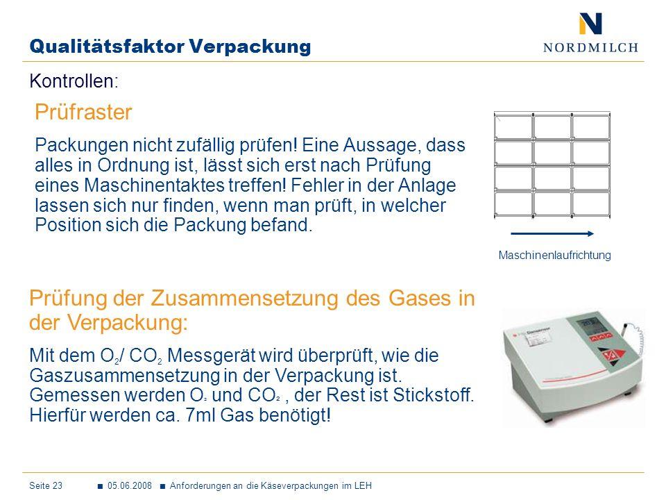 Seite 23 05.06.2008 Anforderungen an die Käseverpackungen im LEH Qualitätsfaktor Verpackung Kontrollen: Prüfung der Zusammensetzung des Gases in der Verpackung: Mit dem O 2 / CO 2 Messgerät wird überprüft, wie die Gaszusammensetzung in der Verpackung ist.