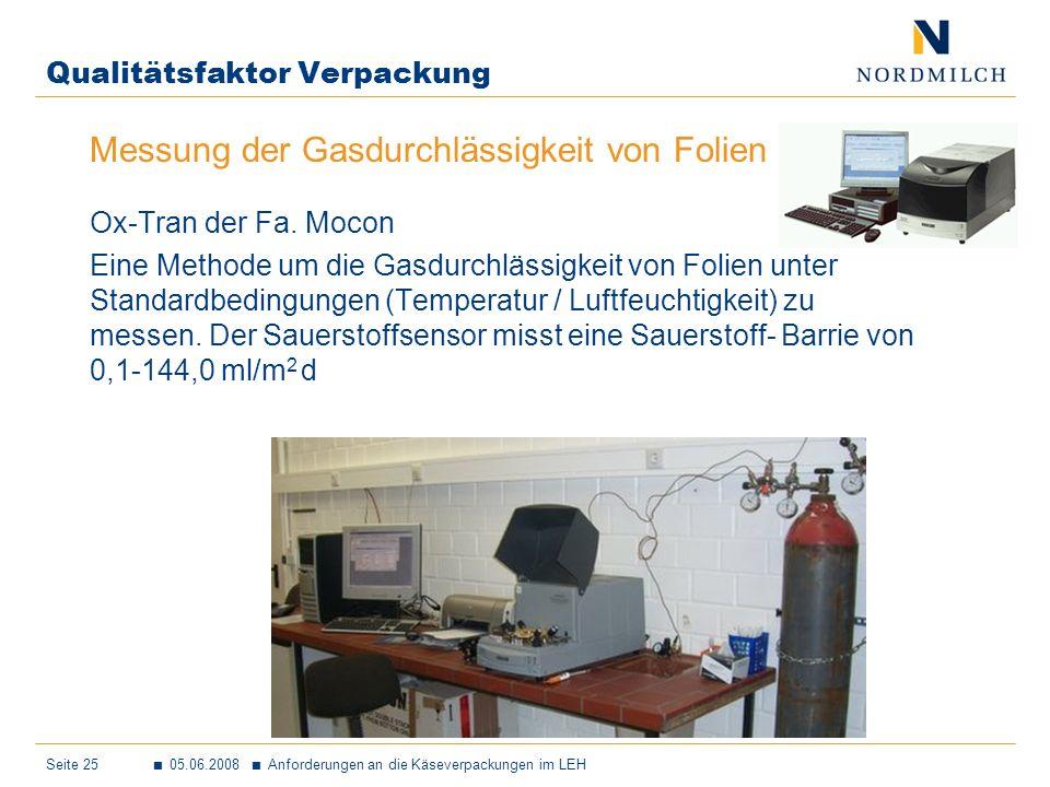 Seite 25 05.06.2008 Anforderungen an die Käseverpackungen im LEH Qualitätsfaktor Verpackung Messung der Gasdurchlässigkeit von Folien Ox-Tran der Fa.