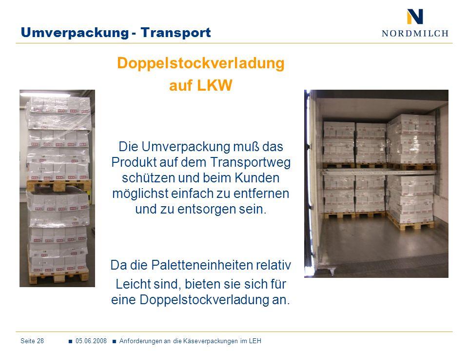Seite 28 05.06.2008 Anforderungen an die Käseverpackungen im LEH Umverpackung - Transport Doppelstockverladung auf LKW Die Umverpackung muß das Produkt auf dem Transportweg schützen und beim Kunden möglichst einfach zu entfernen und zu entsorgen sein.