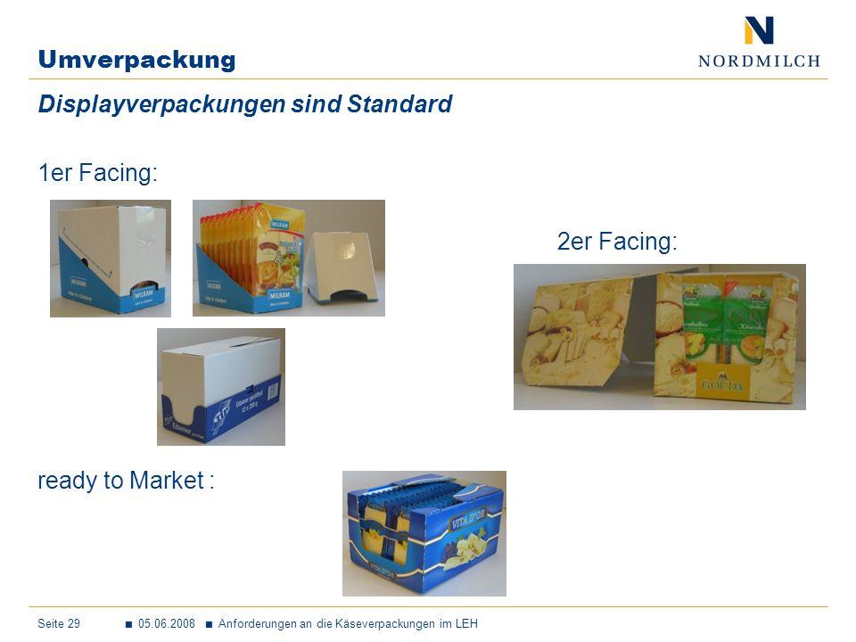 Seite 29 05.06.2008 Anforderungen an die Käseverpackungen im LEH Umverpackung Displayverpackungen sind Standard 1er Facing: 2er Facing: ready to Market: