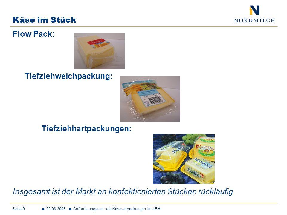 Seite 9 05.06.2008 Anforderungen an die Käseverpackungen im LEH Käse im Stück Flow Pack: Tiefziehweichpackung: Tiefziehhartpackungen: Insgesamt ist der Markt an konfektionierten Stücken rückläufig