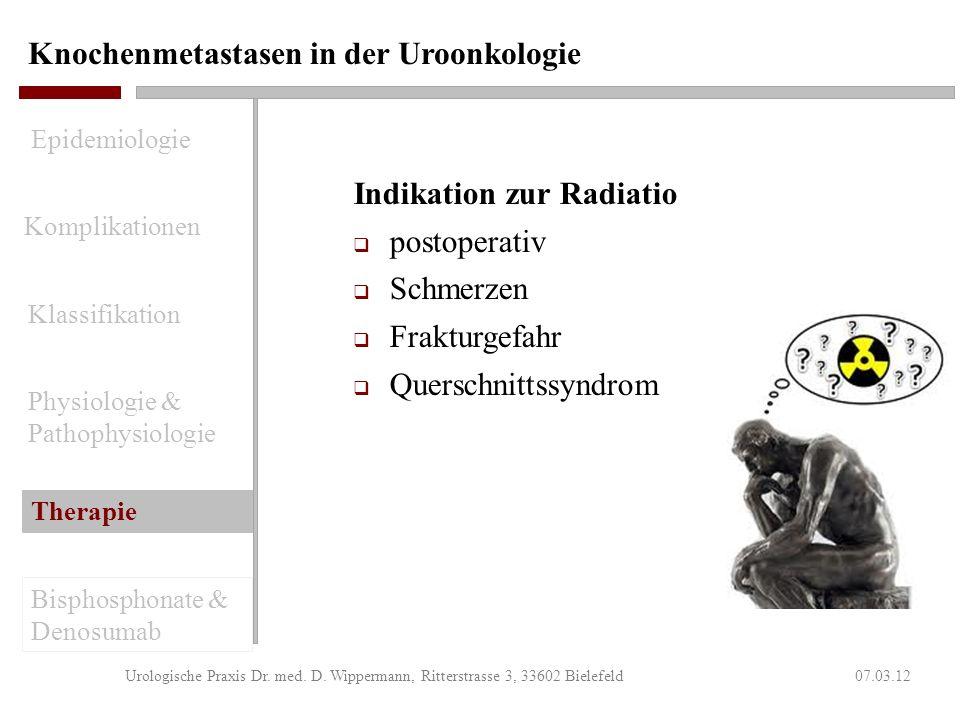 Knochenmetastasen in der Uroonkologie 07.03.12Urologische Praxis Dr. med. D. Wippermann, Ritterstrasse 3, 33602 Bielefeld Analgesie NSAR leichte bis s