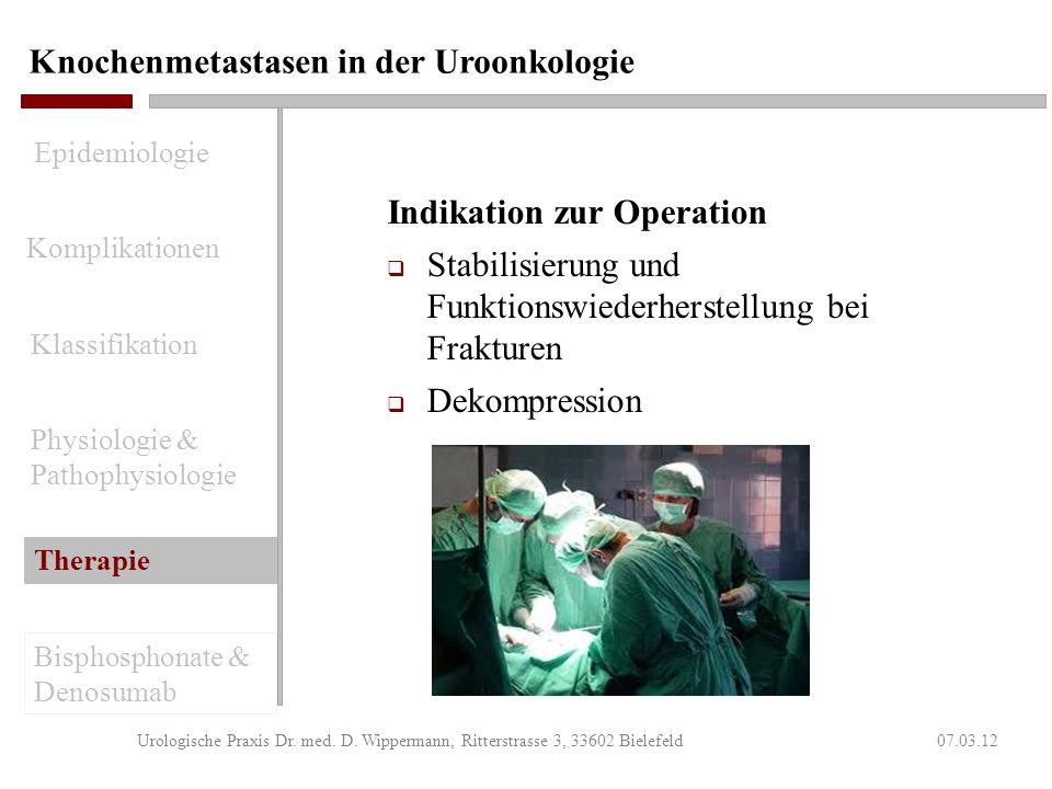 Knochenmetastasen in der Uroonkologie 07.03.12Urologische Praxis Dr. med. D. Wippermann, Ritterstrasse 3, 33602 Bielefeld Ergebnisse der Radiatio Wirk